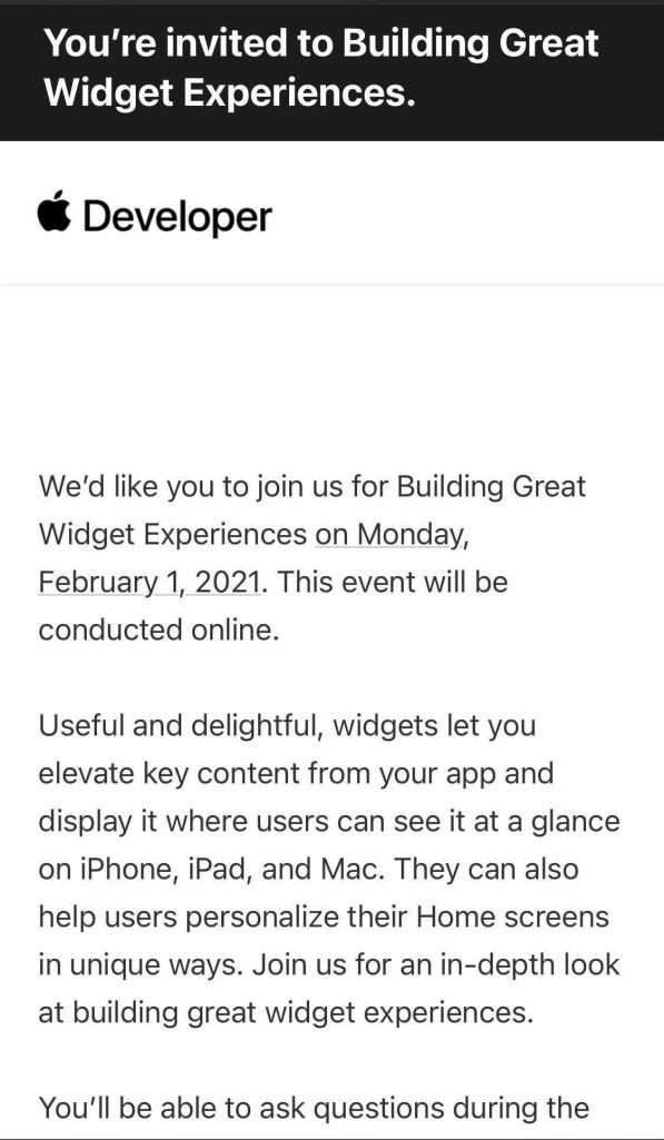 Apple To Invite Developers to Virtual Event to Talk On New Widgets Updates !!
